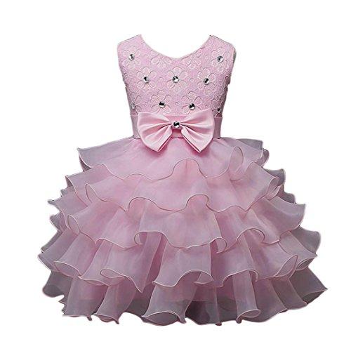 Voberry - Enfants Filles élégant Bowknot Robe de Soirée / Robe de Mariage - Princesse sans Manches - 2 à 7 ans (6 - 7 ans, Pink)