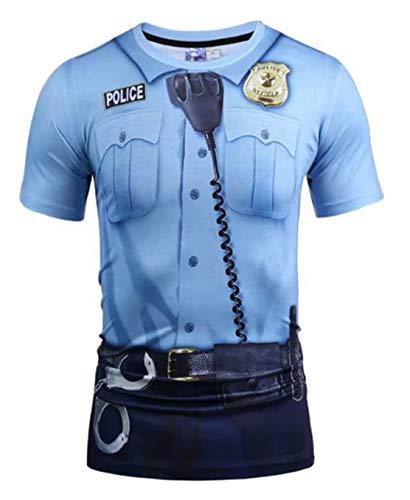 Pizoff Unisex Hip-Hop Kurzarm 3D Druck T-Shirt Polizei Uniform Cosplay AG003-24-S