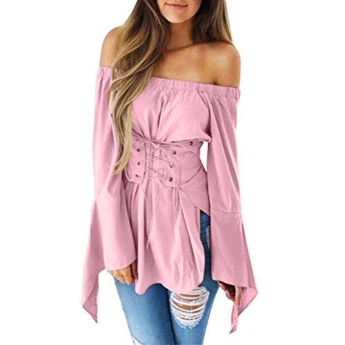 Schlanke Bluse für Frauen, BURFLY Damen Flare Langarmshirts Reine Farbe aus Schulter Bandage Slim T-Shirt (M, Rosa) (Long Sleeve Thermal Floral)
