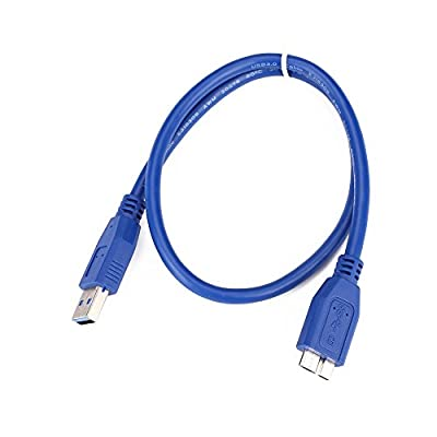 Tiptiper 50cm USB 3.0 A To Micro B Data Cable for External Hard Drive HDD Hard Disk-Blue