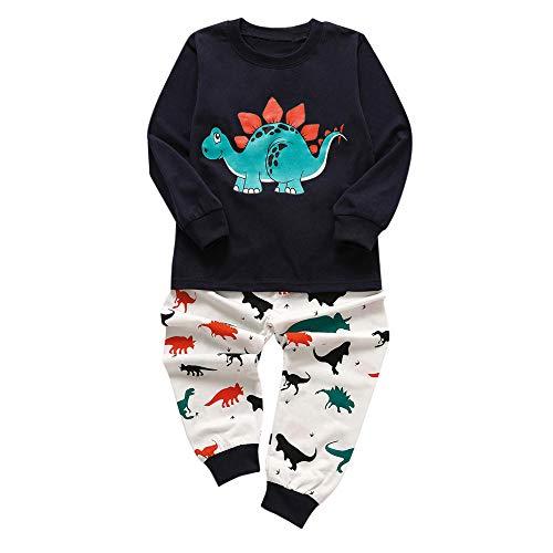 Webla Kinder Langarm Cartoon Dinosaurier Print T-Shirt Pullover Top + Hosen 2 Stücke Set Home Service (18 Monate-6 Jahre) (4-5 Jahre, Dunkelblau)