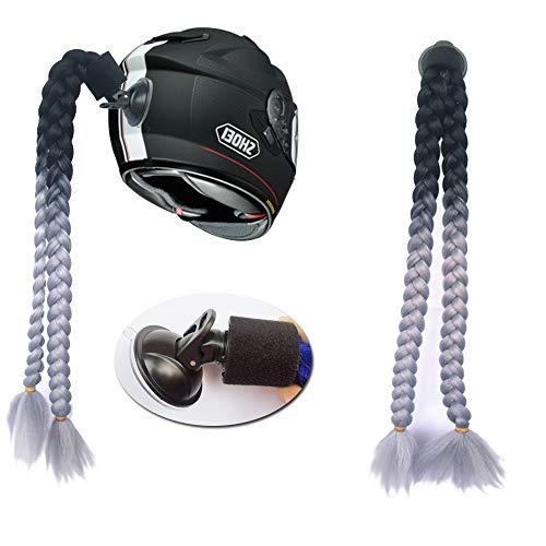 3T-SISTER Helm geflochtener Pferdeschwanz Motorrad Fahrrad Helm Haar Zöpfe Haarteile für Erwachsene (B09)