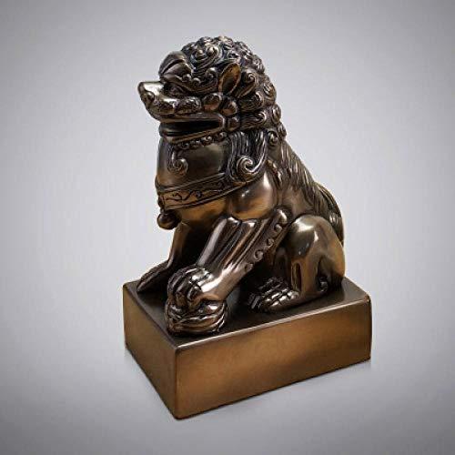 GOUDAIDAI Geschenk für den Lehrer Wohnzimmer Büro Display männlichen Löwen Handwerk Modell Haus Verkaufsbüro weiche Dekoration Zen Ornamente, Kupfer einzigen Löwen - Outdoor-löwen-statuen