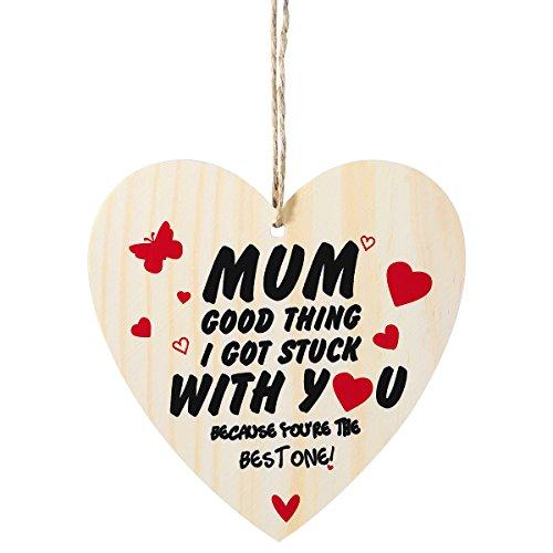 LUOEM Mütter Tag Geburtstagsgeschenk Vintage Wall Plaque Zeichen Herz Form Holzwand Plaque