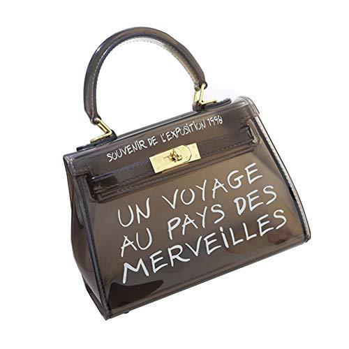 cineman Damenhandtaschen Neue Koreanische Version All-Matched Candy Farbe Gelee Paket Transparente Tasche Mode Handtasche Umhängetasche (S, Black) -