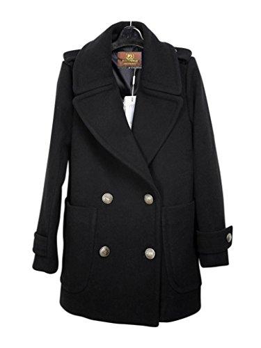 Missfox Damen Parka Winter Jacke WinterMantel Herbst Mantel Damenmatel Wind Coat Marine Peacoat Schwarz