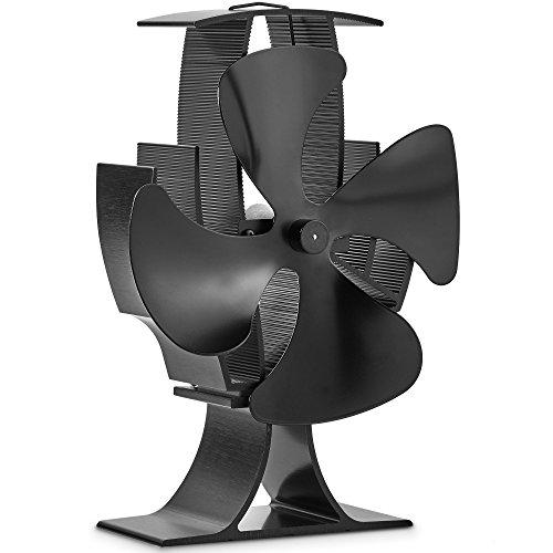 VonHaus Wärmebetriebener Ofen Ventilator mit 4 Rotorblättern für Holzöfen - Schwarz Stahl
