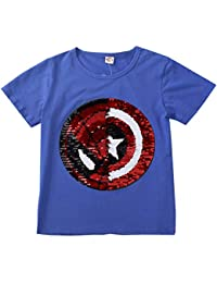 f68579414 Camisetas Lentejuelas Mágico Reversibles Algodón Manga Corta Arriba Niño ...