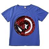 i pass Ragazzo Ragazza T-Shirt con Paillettes, Manica Corta Magica (3-4 Anni, H)