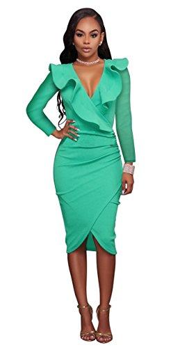 Honeystore Damen's Sexy Tief V-Ausschnitt Volants Bodycon Cocktailkleid Abendkleid Festlich Partykleid Grün (Online Mieten Kostüme Sie)