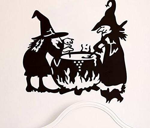 aufkleber Halloween Hexe Hintergrund Wandaufkleber Fenster Dekoration Aufkleber Dekor ()
