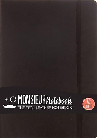 Monsieur Notebook Black Leather Ruled