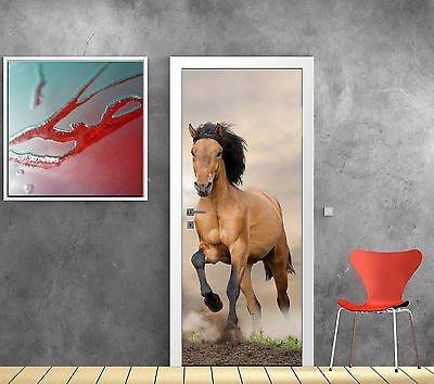 Stickersnews - Stickers pour porte trompe l oeil déco Cheval réf 783 Dimensions - 83x204cm