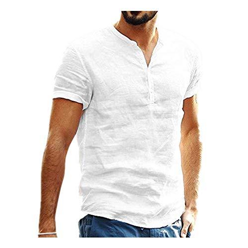 Beonzale Sommer Herren Pullover Herren T-Shirts Frühling Männer Baggy Baumwolle Leinen Farbe Kurzarm Retro T-Shirts Tops T Shirt Herren White Linen Cropped Pants