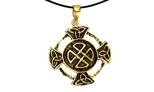 Erlebnis-Mittelalter Wikinger / LARP / keltisch / Mittelalter Anhänger, verzinnt und nickelfrei (Anhänger Kreuz mit keltischem Knoten gold)
