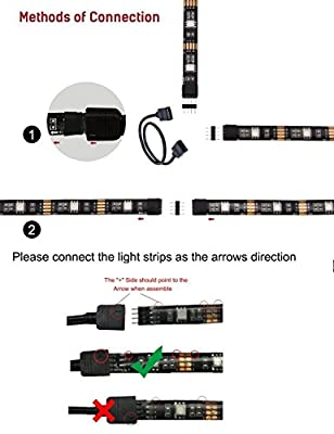 4pcs LED Strip Light,LED TV Background Lighting Kit,Multi-Colour RGB 50cm LED Strip Light with DC 5V USB Port and IR Remote Control for Television Computer Desktop Background Decorative Lighting