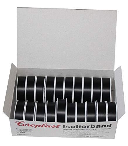Auswahl Farbe Coroplast Box verschiedene Farben VDE Isoband Elektriker Isolierband Klebeband 15mm x 10 m 20 Rollen (Schwarz)