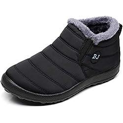 Zapatos Mujer Botas de Nieve Invierno Forro Calentar Tobillo Al Aire Libre Zapatillas Altas Outdoor Antideslizante Sneakers Negro 39
