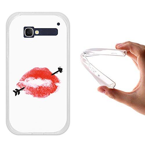 WoowCase Alcatel One Touch Pop C5 Hülle, Handyhülle Silikon für [ Alcatel One Touch Pop C5 ] Lippen und Pheil Handytasche Handy Cover Case Schutzhülle Flexible TPU - Transparent
