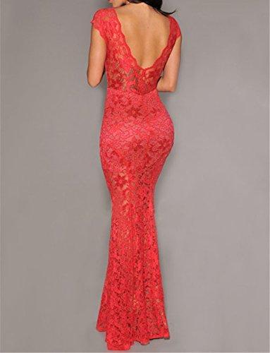 LETSDO Charming Boulevard Pailletten Langes Kleid Schwarz (One size, Rote) Rote