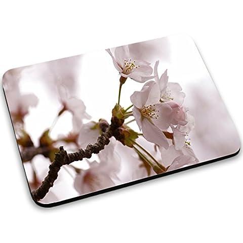 Blumen 10005, Weiße Blume, Mousepad Anti Rutsch Unterseite für Optimalen Halt Kompatibel mit allen Maustypen (Kugel, Optisch, Laser) Ideal für Gamer und für Grafikdesigner.