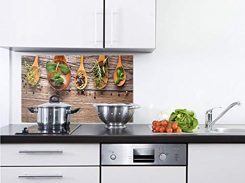 GRAZDesign Glasplatte Küche Holzoptik - Spritzschutz Küche Glas Gewürze - Wandpaneele Küche Küchenmotiv - Küchenrückwand Glas Kräuter / 80x50cm / 200307_80x50_SP