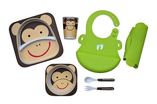 Kleinkind-Teller-Set mit Silikon-Lätzchen (weich, flexibel, pflegeleicht) - 5-teiliges Geschirr-Set (Teller, Schüssel, Tasse, Gabel, Löffel), Umweltfreundliche Bambus-Faser, Spülmaschinenfest - 5 Stück Kinder-dinner-set