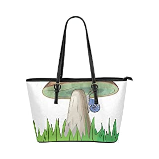 Wild Life Mushroom Cute Cartoon Large Soft Leather Portable Top Handle Hand Totes Bags Causal Handbags With Zipper Shoulder Shopping Purse Luggage Organizer For Lady Girls Womens Work