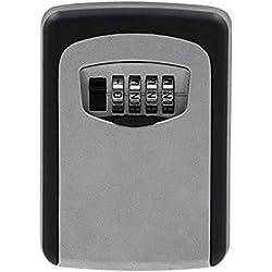 Sumnacon Boîte à clé, coffret mural de serrure à la maison, coffre à code Extérieur pour Sécuriser vos clé - 8,5*12*4 cm (gris)