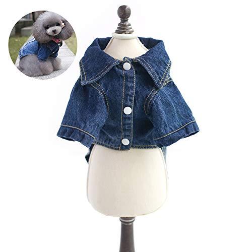 Kostüm Mit Jeans Katze - 1PC Hunde Shirts Katzen-blaues Jean-Denim-Jacke Bekleidung Welpen-Mantel-Jacke mit Knopfleiste Outfit (M)