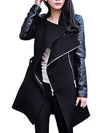 Damen Frühling Herbst Long Windjacke, LeeMon Warm Women s Zipper Leather  Patchwork Long Jacket Coat 11c7a68dc4