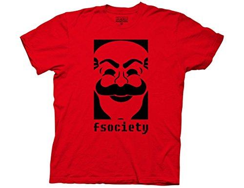 Fireti Mr Robot F Society Logo Adult T-Shirt Red