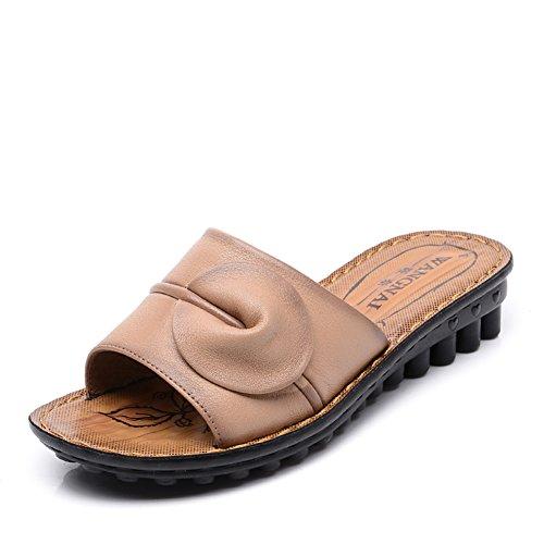 Lady slipper/Au milieu en bas doux et souliers pour dames âgées vieux/Chaussures de maman maison pantoufles dérapage résistantes C