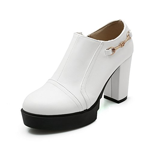 Adee Mesdames Chunky talons Pompes Chaussures polyuréthane solide Blanc