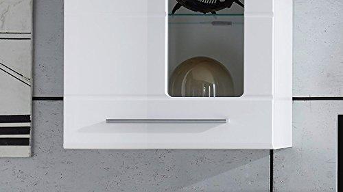Möbel Akut Wohnwand Enrique 2 Wohnzimmer Anbauwand Front weiß hochglanz 2 Hängevitrinen - 5