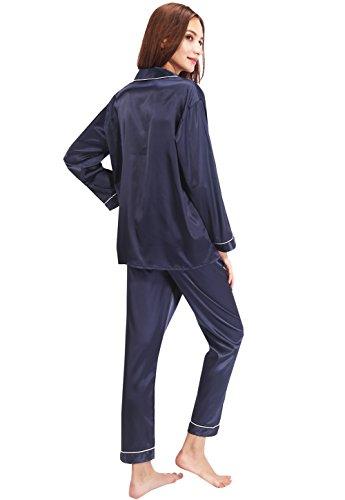 Vislivin il suo bottone gi? Pantalino corto e manica corta / Pantaloni lunghi e maniche lunghe Satin Set Pigiama Blue 1