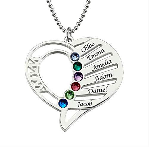 VAWAA Frauen Silber Halsketten Benutzerdefinierte Name Gravur Halskette Liebe Herz Kragen Birthstone Kette Weihnachten Tag Geschenk Für Mama 50cm (Benutzerdefinierte Kostüm Zeichen)