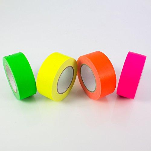 Gaffa Tape neongelb, uv-aktiv, 50mm x 25m, wasserabweisend - Gewebeklebeband / Gaffer Klebeband - showking