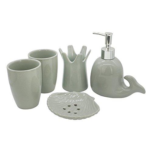 Zeewoo accessori da bagno ceramica dispenser sapone, portaspazzolino, bottiglia di emulsione, bicchiere, caratteristiche delfino grigio carino stile set di 5 pezzi moderno design semplice-grigio