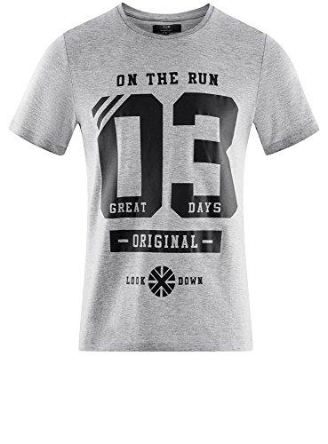 oodji Ultra Herren Baumwoll-T-Shirt mit Schriftzug Grau (2329P)