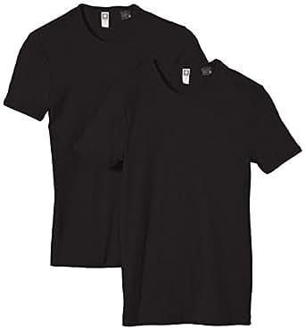 G-STAR Herren T-Shirt Base R 2er Pack, Gr. Small, Schwarz (Schwarz 990)