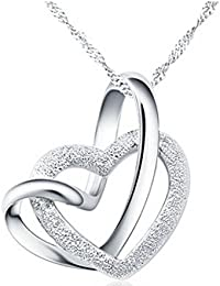 Caratcube Silver 18K White Gold Plated Austrian Crystal 2 Hearts Necklace With Chain For Women