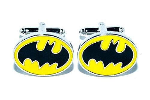 BATMAN DC SUPER HÉROS JAUNE OVAL HOMMES MARIAGE ARGENT BOUTON DE MANCHETTE CUFF LINKS, avec sac cadeau