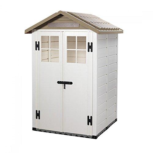 Casetta pvc beige con pavimento box ricovero attrezzi - Box da giardino ...
