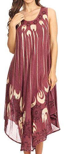 Sakkas 17126 - Ecrin Damen Tie-Dye Army Stonewashed Kaftan vertuschen Kleid Flowy - Burgundy - OS -