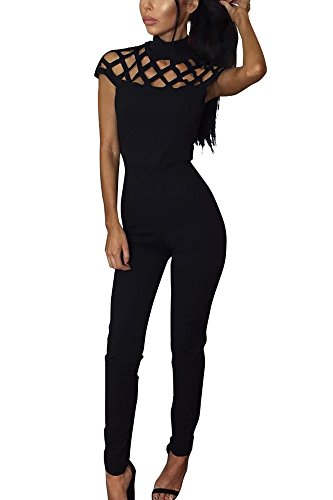 Miss Floral® Womens Cut Out Caged High Neck Collar Bodaycon Jumpsuit 3 Colour Size 6 - 18