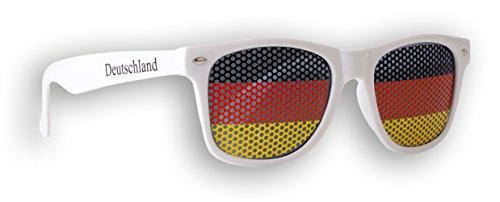 1 x Fanbrille Deutschland - Weiß - Sonnenbrille - Brille Germany - Schwarz Rot Gold - Fan Artikel