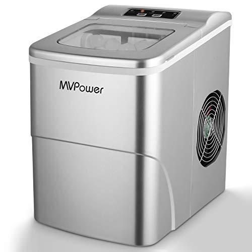 MVPOWER Eiswürfelbereiter/Eiswürfelmaschine / 12kg Eiswürfel (26 lbs) / Produktionszeit 6-8 Minuten / 2 Eiswürfel-Größen / 80W~120W / 2L Wassertank/ohne Wasseranschluss/Silber Ice Maker