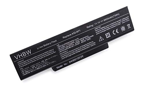 vhbw Akku LI-ION 6600mAh 11.1V schwarz passend für ASUS N71J etc. ersetzt 70-NX01B1000Z, 70-NXH1B1000Z, 70-NZY1B1000Z 70-NZYB1000Z, A32-K72, A32-N71