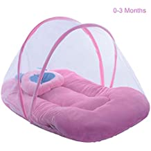 Cutieco Soft and Comfortable New Born Baby Bedding Set with Protective Mosquito Net and Pillow, Pink